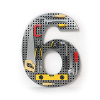 Number 6 six. Alphabet from the tools on the metal pegboard isolated on white.