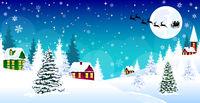 Christmas winter village night snow Santa