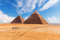 The Giza Pyramids in the desert, sunny day scenery