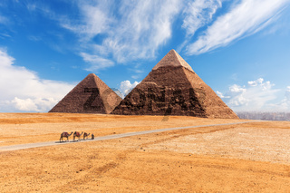 The Giza Pyramids in the desert, sunny day scenery
