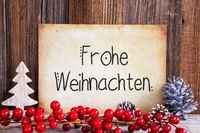 Christmas Decoration, Paper With Text Frohe Weihnachten Means Merry Christmas