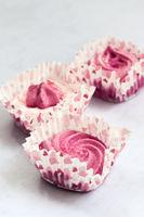 pink marshmallows on white