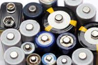 old batteries, details from electronic scrap for recycling