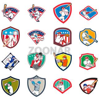 Baseball Player Shield Icon Set
