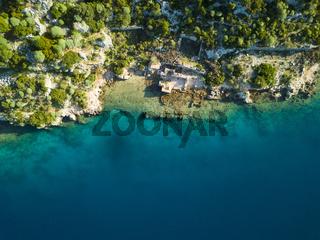 Top Down Aerial View Sunken City Kekova Turkey
