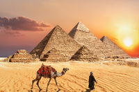 Giza Pyramid complex in Egypt, beautiful sunset view