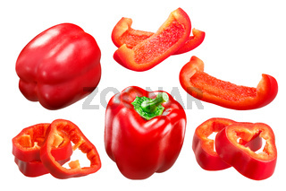 Red bell pepper whole and slices c. annuum, paths
