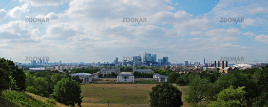 Panoramic view from Greenwich Observatory on London