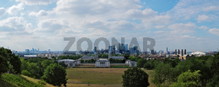 Panoramaaussicht vom Greenwich Observatory auf London