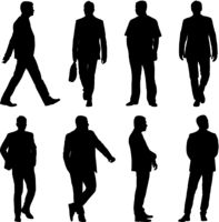 Black silhouette group of people standing in various poses