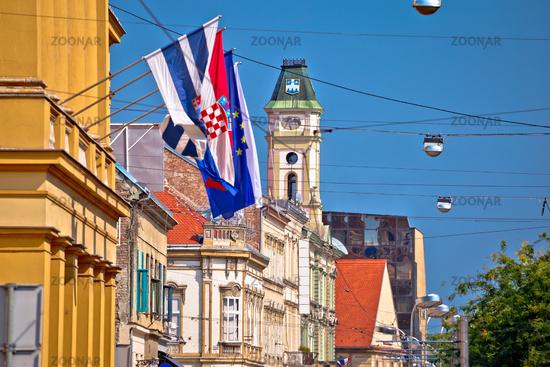 Osijek colorful street and landmarks view