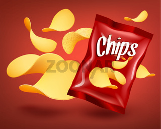 Red chips package mockup with yellow crispy snacks, advertising concept