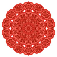 Red Ornamental Line Pattern. Round Texture. Oriental Geometric Ornament