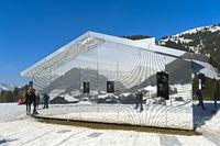 Mirror house Mirage Gstaad by Doug Aitken, Art Exhibition Elevation 1049: Frequencies, Gstaad