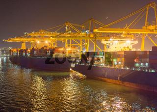 Cargo ships cranes Barcelona port