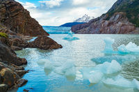 View of small Iceberg break off Grey Glacier and floating in Grey Lake