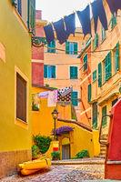 Street in Boccadasse in Genoa