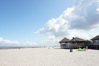 Beach restaurant on the sandy beach near Cadzand