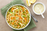 Fresh White Cabbage and Carrot Coleslaw