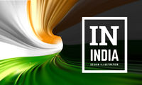 India flag in the form of a spiral pipe. Inside view. Vector illustration
