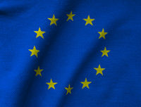 the EU flag printed on a textured Jersey knit fabric