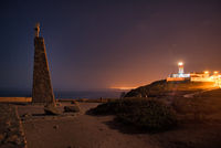 Lighthouse at Cabo da Roca at Night Twilight Dusk