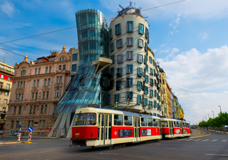 Dancing House and old tram