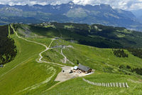 Hiking trails at Mont Joly in the hiking area of Saint-Gervais-les-Bains, Savoie, France