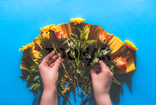 Bouquet of flowers unwrapped
