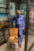 AMSTERDAM, NETHERLANDS - APRIL 25, 2017: Hannibal Lecter (Anthony Hopkins) wax statue in Madame Tussauds museum on April 25, 2017 in Amsterdam Netherlands