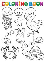 Coloring book summer animals theme set 1