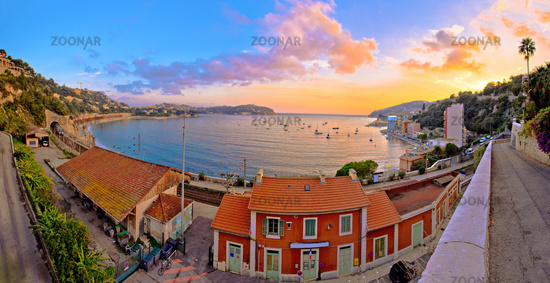 Villefranche sur Mer idyllic French riviera town sunset panoramic view