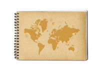 Vintage world map on an old notebook