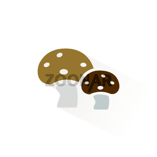 Mushrooms icon with shadow. Flat vector illustration