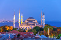 The Blue Mosque or Sultan Ahmet Mosque evening view, Istanbul, Turkey