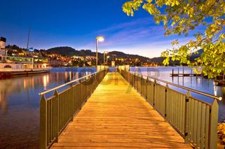 Lucerne lake pier evening view