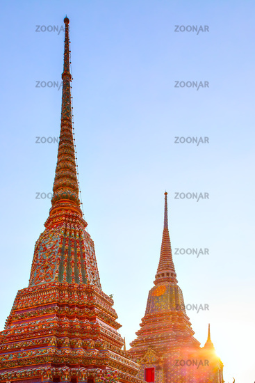 Stupas in Bangkok at sunset