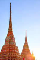 Stupas in Bangkok at sunset
