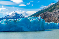 View of Grey Glacier, Grey Lake and Snowy Mountain in Torres del Paine National Park