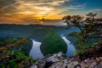 Czech Grand Canyon Horseshoe. Famous czech Lookout May near Prague. Meanders of river Vltava in central Bohemia