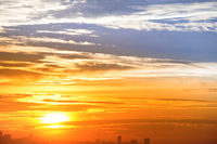 City skyline and dramatic sunset