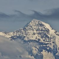 Air swirl over Mount Monch, Bernese Oberland. View from Mount Niederhorn.