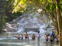 Tourists at Dunn's River Falls