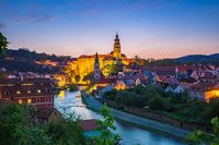 Cesky Krumlov old town at night in Czech Republic