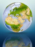 Cyprus on globe