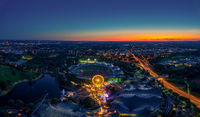 Munich in bavaria from above with a impressive sunset view.