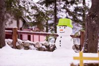 smiling snowman with green hat