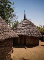 Lanscape with Mataya village of sara tribe people, Guera, Chad
