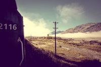 Train in Mountain fields landscape, New Zealand