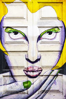young woman, painted front door, Funchal, Madeira, Portugal, Europe